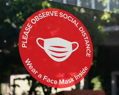 Face Mask Window Sticker Red