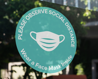 Face Mask Window Sticker Turquoise