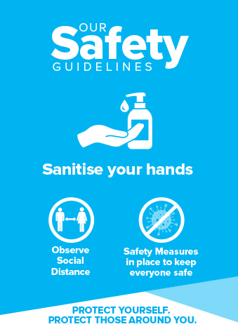 Hand Sanitiser Signs Blue