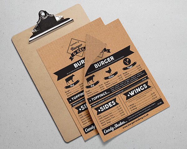 Single Use Brown Kraft Paper Menu
