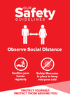 Social Distance Signs Red