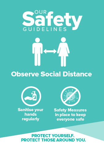 Social Distance Signs Turquoise
