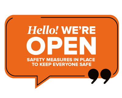 We're Open Speech Window Sticker Orange