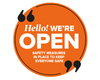 We're Open Circle Window Sticker Orange