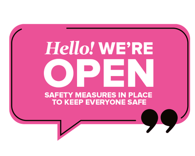 We're Open Speech Window Sticker Pink
