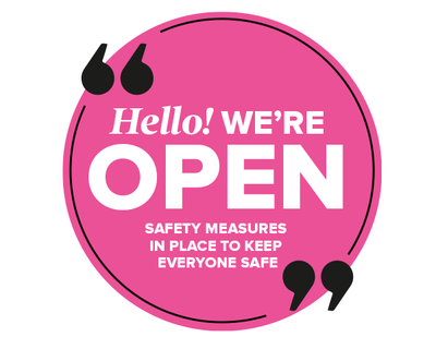 We're Open Circle Window Sticker Pink