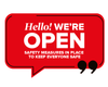 We're Open Speech Window Sticker Red