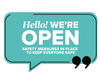 We're Open Speech Window Sticker Turquoise