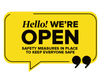 We're Open Speech Window Sticker Yellow