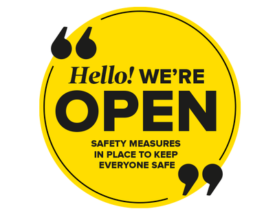 We're Open Circle Window Sticker Yellow