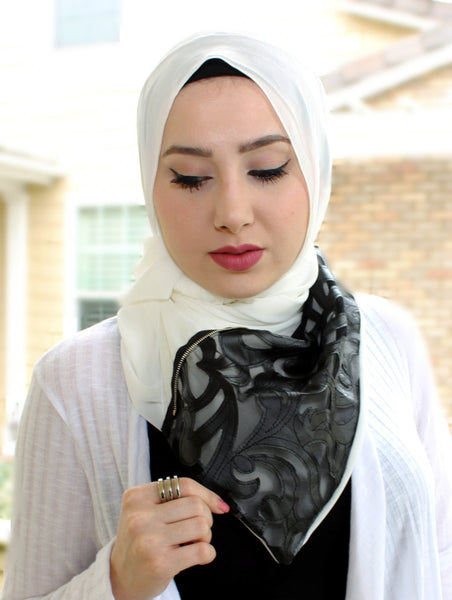 Black Leather Paisley Scarf