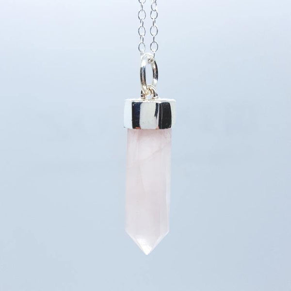 Rose Quartz and Silver Crystal Necklace