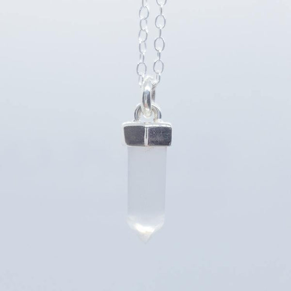 Selenite and Silver Crystal Necklace