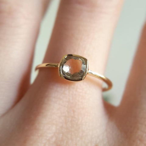 14kt Yellow Gold and Green Amethyst Cushion Ring