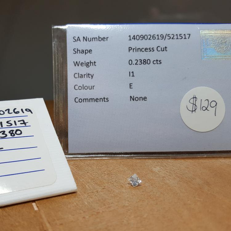 Natural 0.23ct E I1 Square Princess Diamond