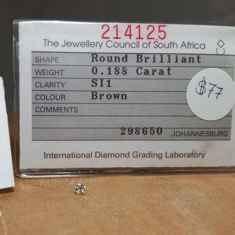 Natural 0.18ct Brown SI1 Round Brilliant Diamond