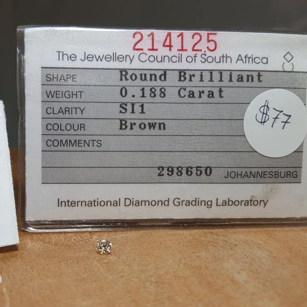 Natural 0.18ct Brown SI1 Round Brilliant Diamond - Spada Diamonds