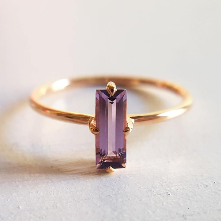 14kt Rose Gold and Amethyst Baguette Ring - Spada Diamonds