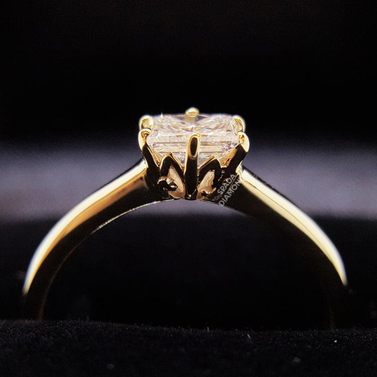 9 karat yellow gold vintage protea design engagement ring with square rectangle princess cut diamond