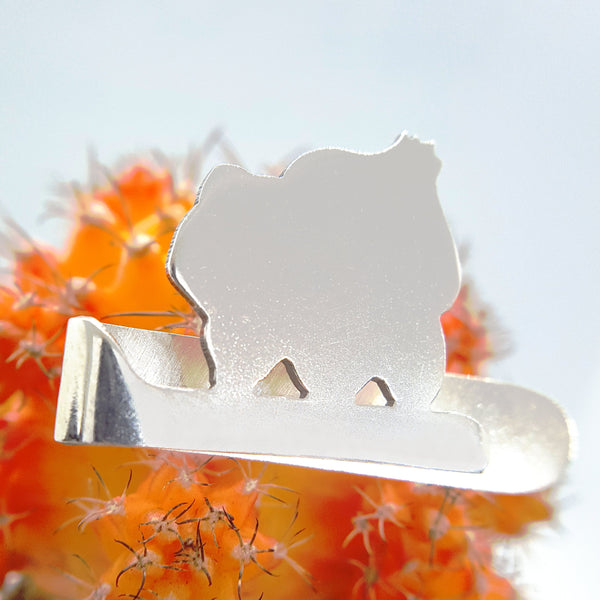 Silver Pokemon Bulbasaur Tie Clip Pin