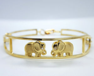 18 karat yellow gold and diamonds african elephant bracelet bangle