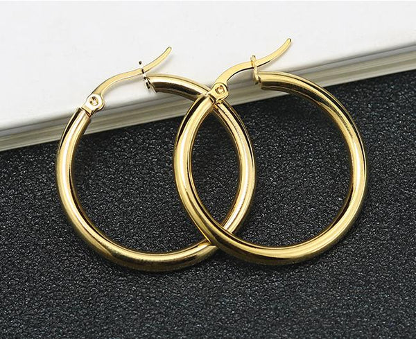 9kt Gold Lina Hoop Earrings - Spada Diamonds