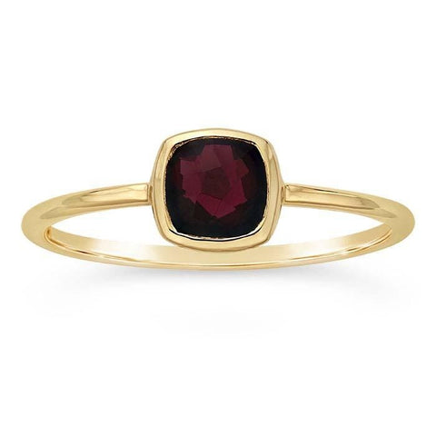 14kt Yellow Gold and Red Garnet Cushion Ring - Spada Diamonds
