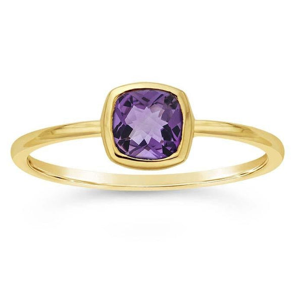 14kt Yellow Gold and Purple Amethyst Cushion Ring - Spada Diamonds