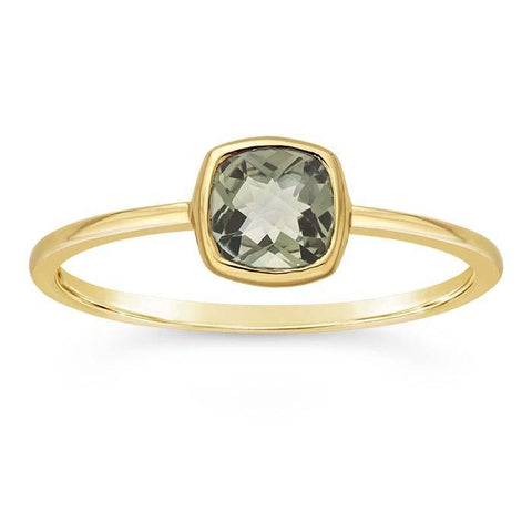 14kt Yellow Gold and Green Amethyst Cushion Ring - Spada Diamonds