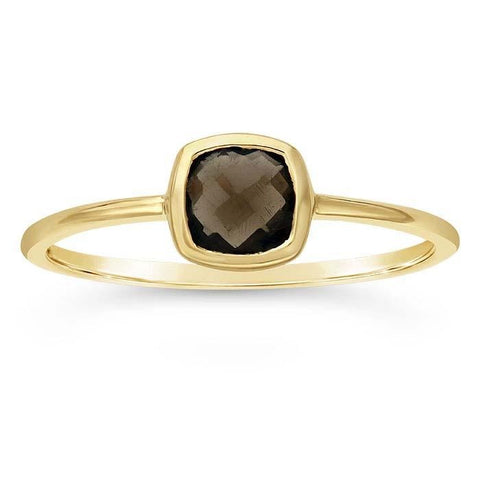 14kt Yellow Gold and Smoky Quartz Cushion Ring - Spada Diamonds