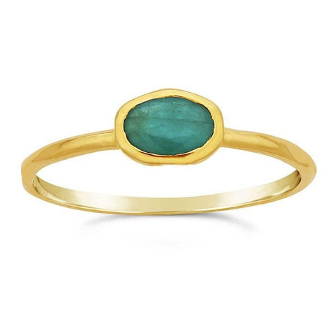 14kt Yellow Gold and Green Emerald Oval Ring - Spada Diamonds