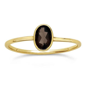 14kt Yellow Gold and Smoky Topaz Oval Ring - Spada Diamonds