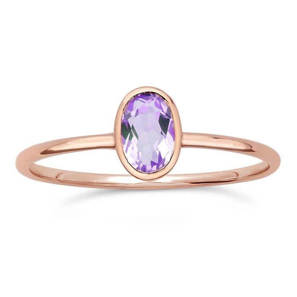 14kt Rose Gold and Amethyst Oval Ring - Spada Diamonds