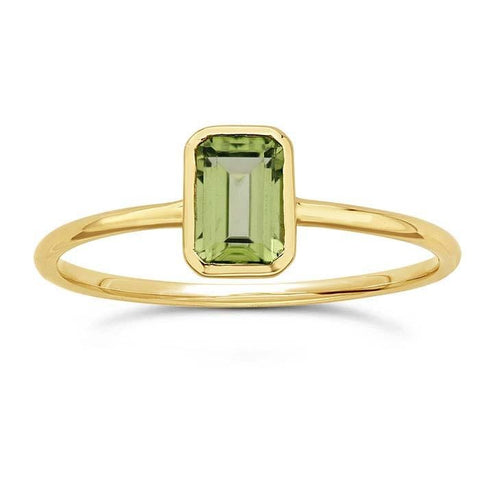 14kt Yellow Gold and Green Peridot Octagon Ring - Spada Diamonds