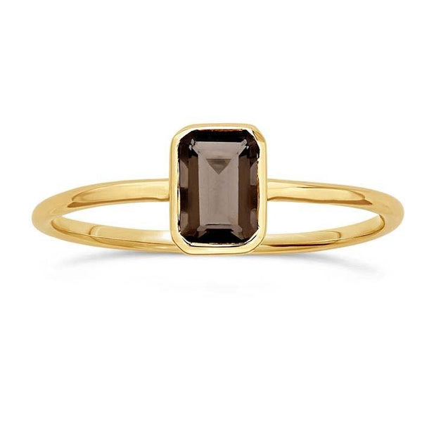 14kt Yellow Gold and Smoky Topaz Octagon Ring - Spada Diamonds
