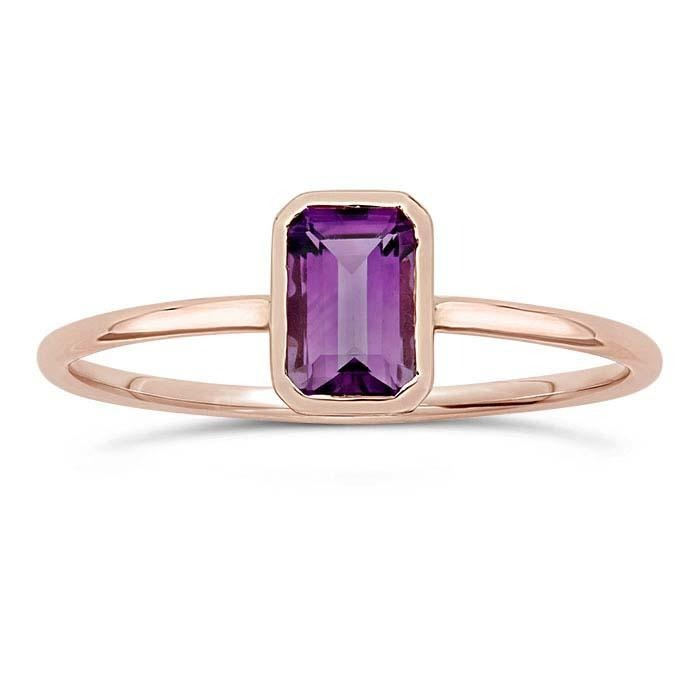 14kt Rose Gold and Amethyst Octagon Ring - Spada Diamonds
