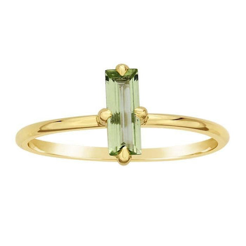 14kt Yellow Gold and Green Peridot Baguette Ring - Spada Diamonds