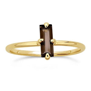 14kt Yellow Gold and Smoky Topaz Baguette Ring - Spada Diamonds