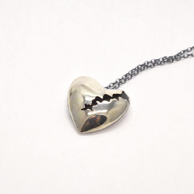My Cracked Heart Silver Necklace