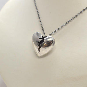 Our Cracked Heart Silver Necklace - Spada Diamonds