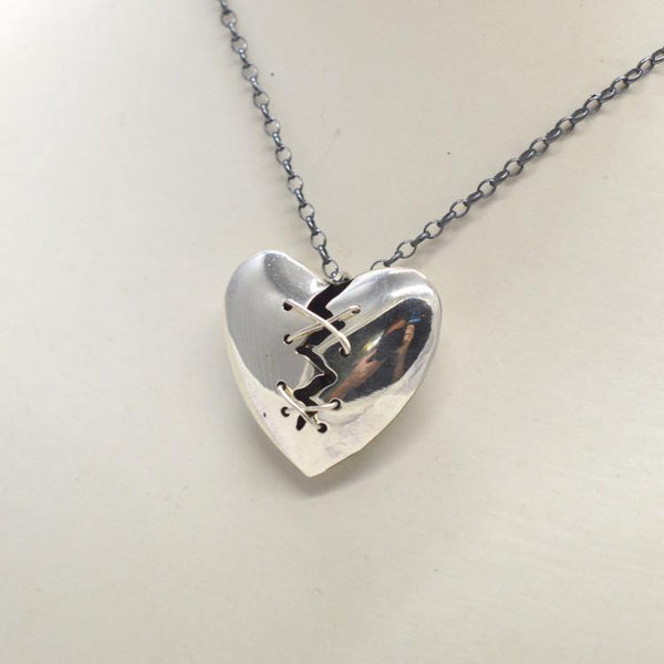 Stitched Heart Silver Necklace