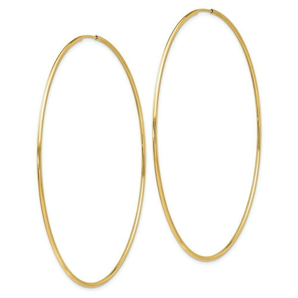 9 karat yellow gold endless sleeper hoop earrings from Italy