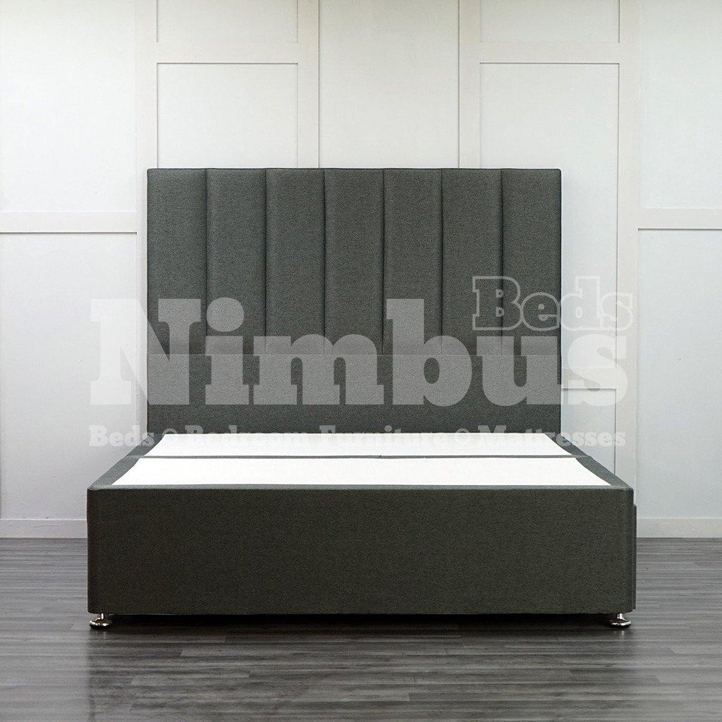 Divan Base with Vertical Stripe Floor Standing Headboard - King - Black Linen