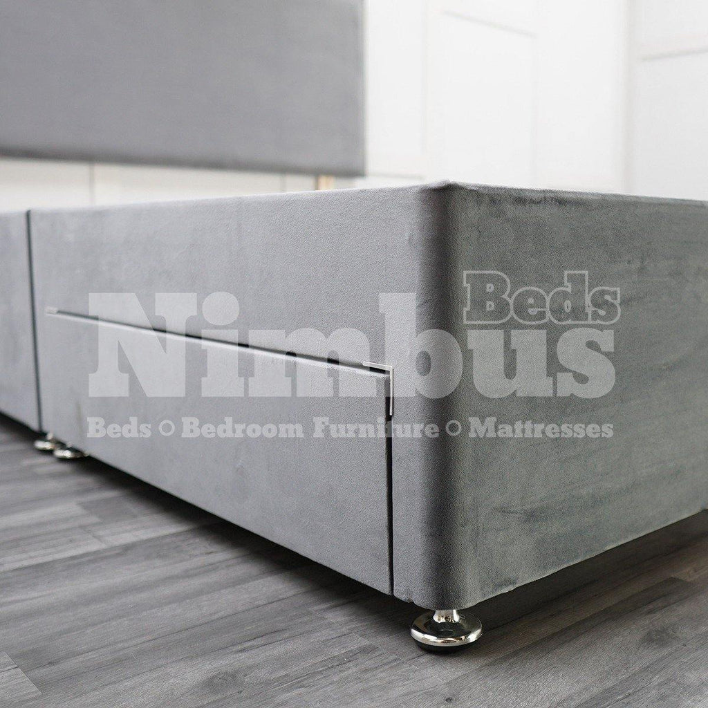 "Divan Base (2 Drawers) with 24"" Ripon Headboard - Double - Milan Charcoal"