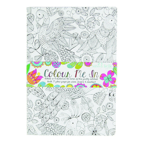 Sass and Belle A5 sized Notebook - Colour me in Birds design, Plain paper