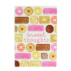 A5 sized Notebook - Sweet Thoughts Biscuit design, Plain paper