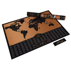 Luckies Poster Adventure map - World Scratch Map in Black and Gold