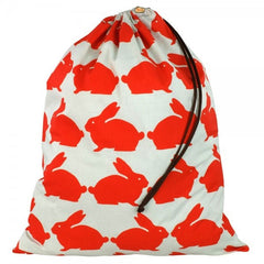 Anorak Kissing Rabbits Cotton Laundry Bag