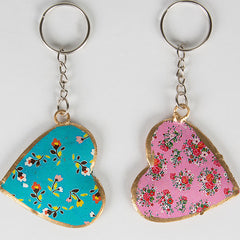 Floral Metal heart keyring  - Audrey, Pink and Blue available. Sass and Belle
