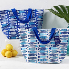 Fish Pattern Thermal Tote Shoulder Bag - Blue Fish Pattern